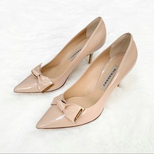 Burberry Patent Leather Bow Detail Heels 8.5